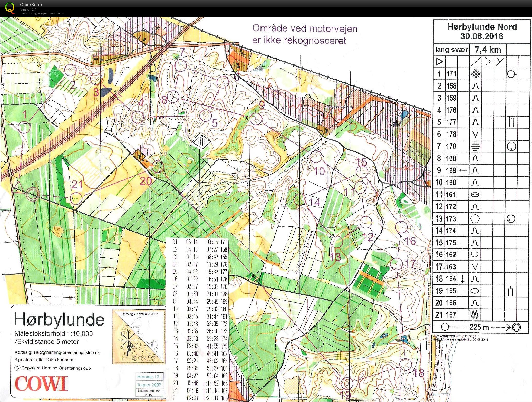 Hrbylunde Nord Bane 1 August 30th 2016 Orienteering Map from
