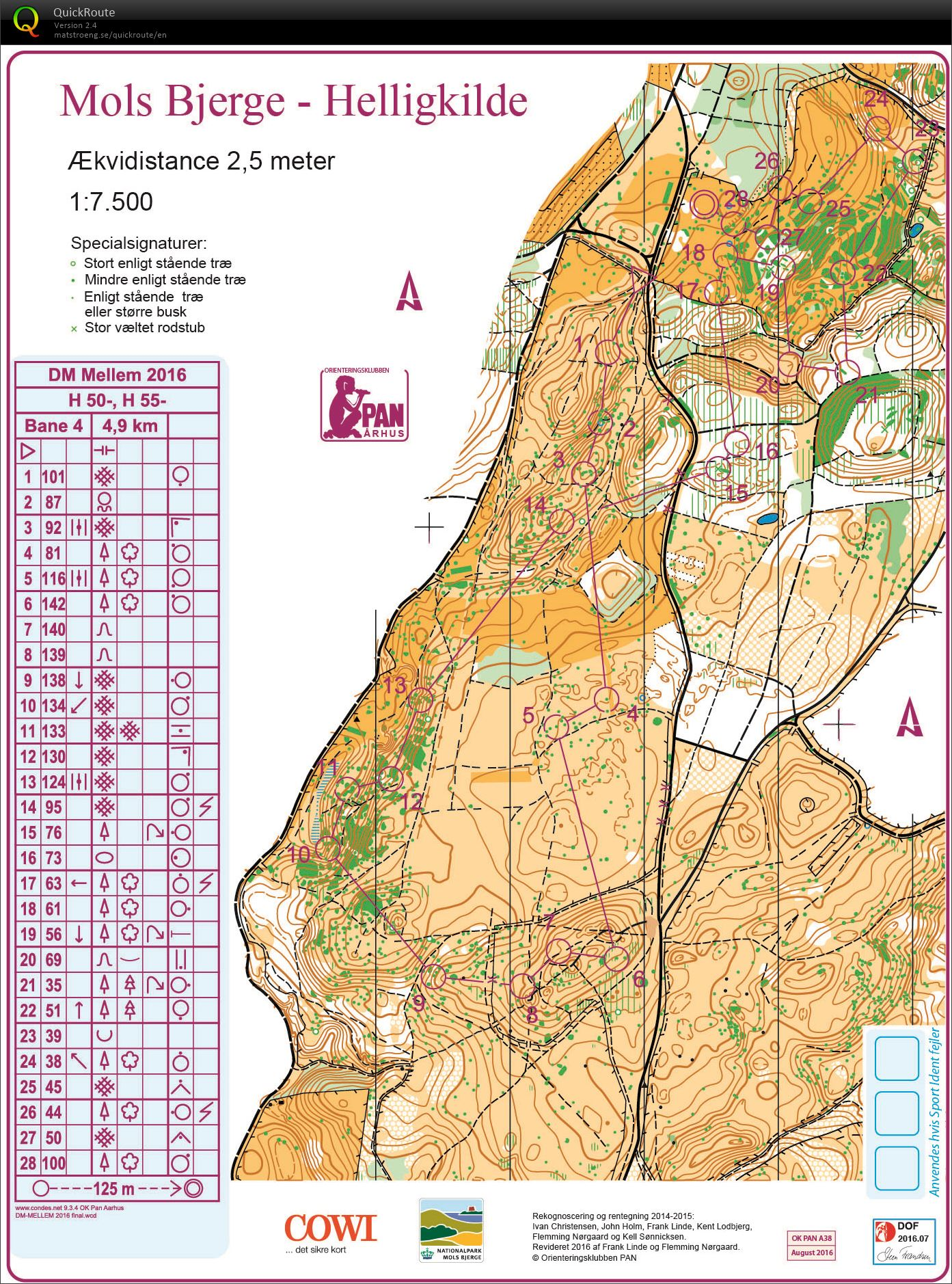 Dm Mellem Mols Bjerge H55 September 3rd 2016 Orienteering Map