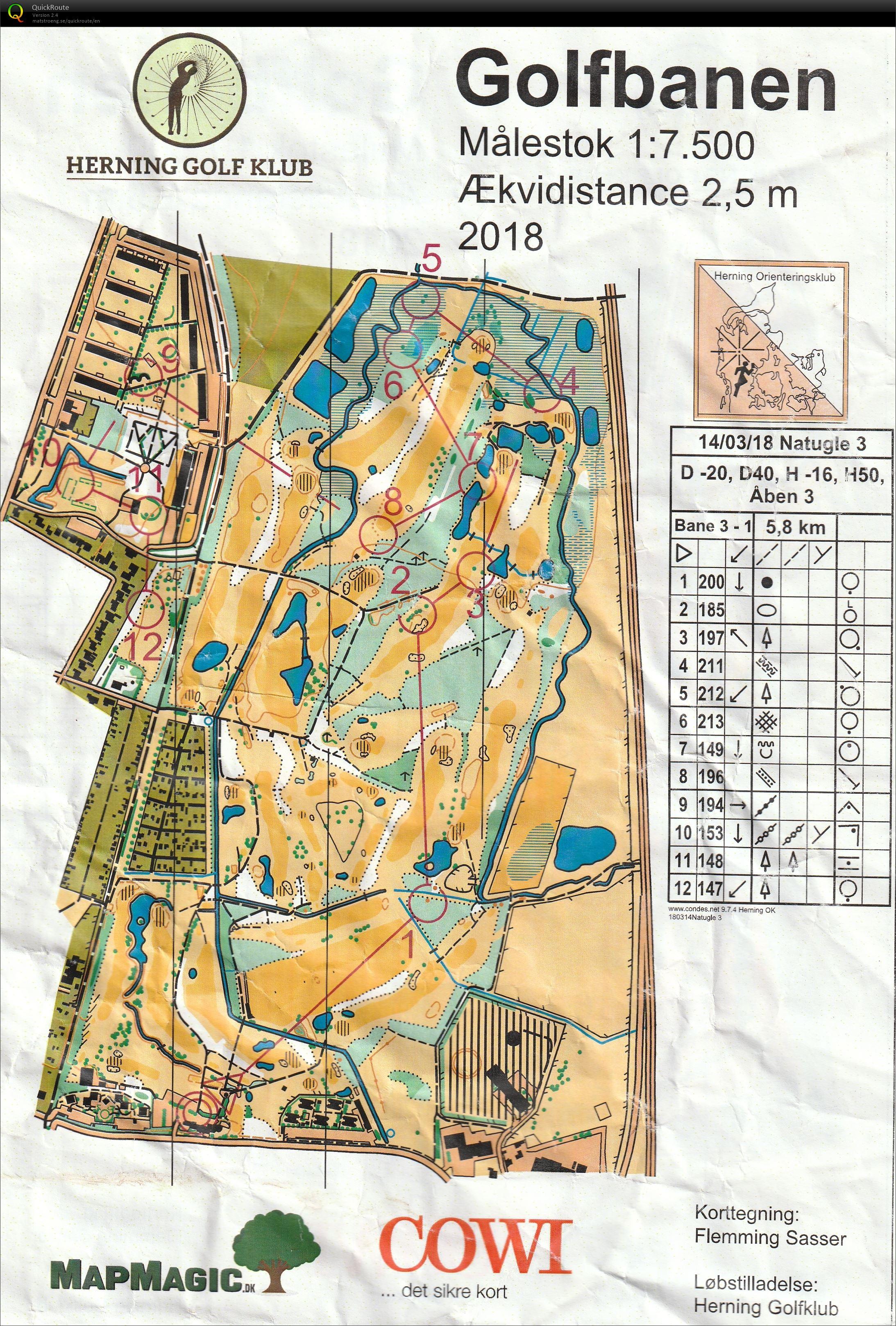 Natugle 3 Golfbanen H50 March 14th 2018 Orienteering Map
