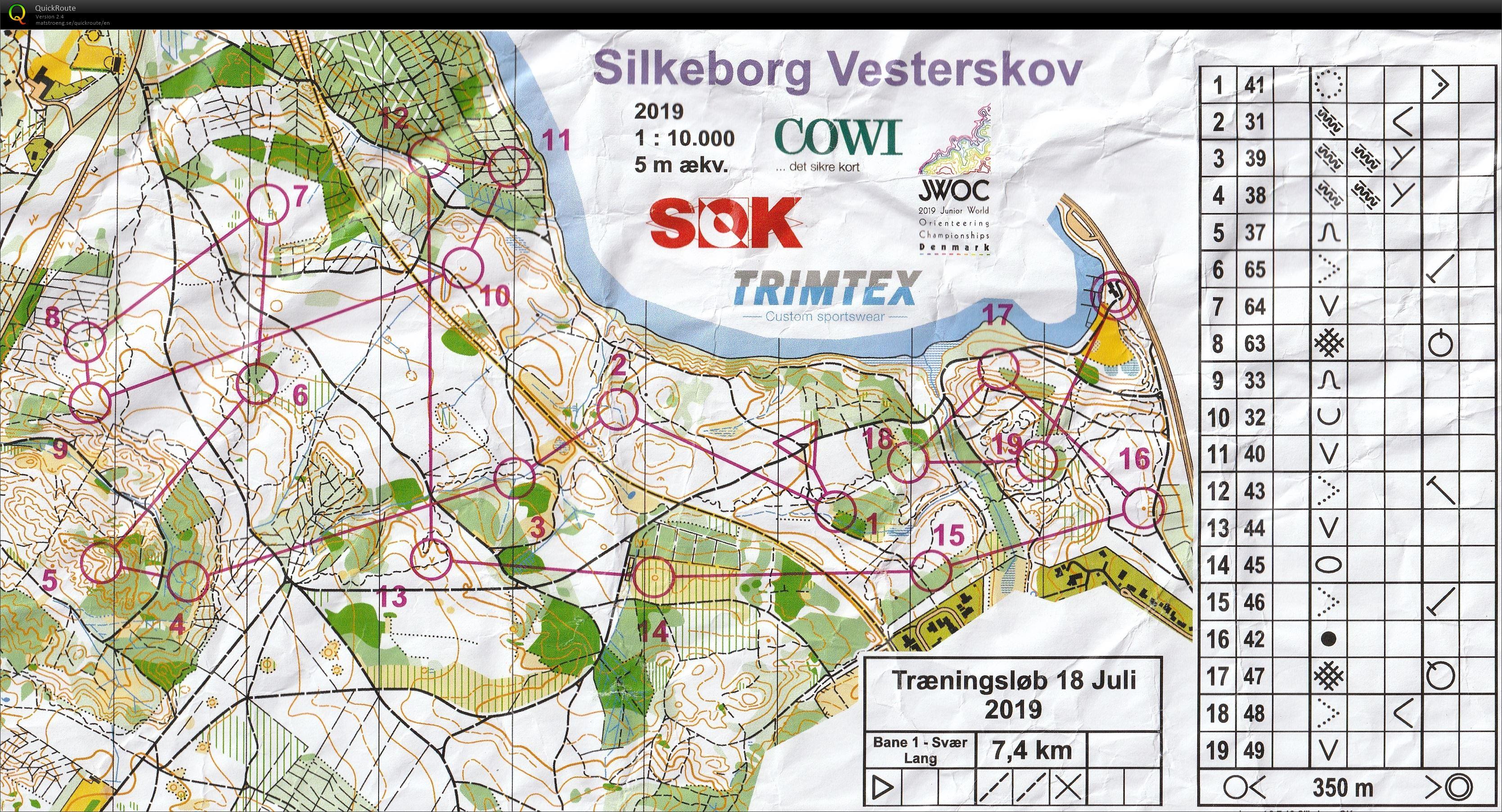 Silkeborg Vesterskov Bane 1 July 18th 2019 Orienteering Map