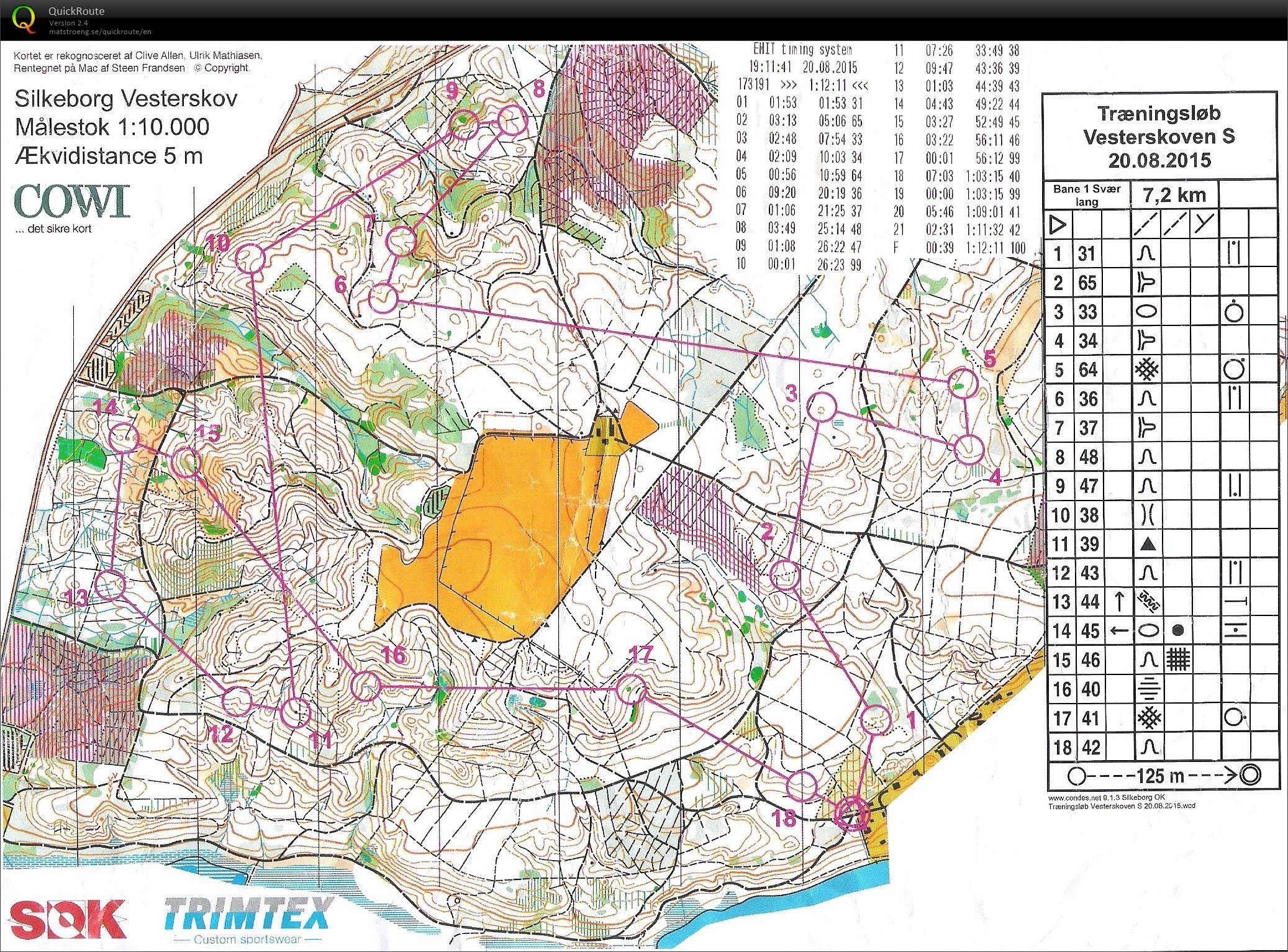 Silkeborg Vesterskov bane 1 - August 20th 2015 - Orienteering Map ...