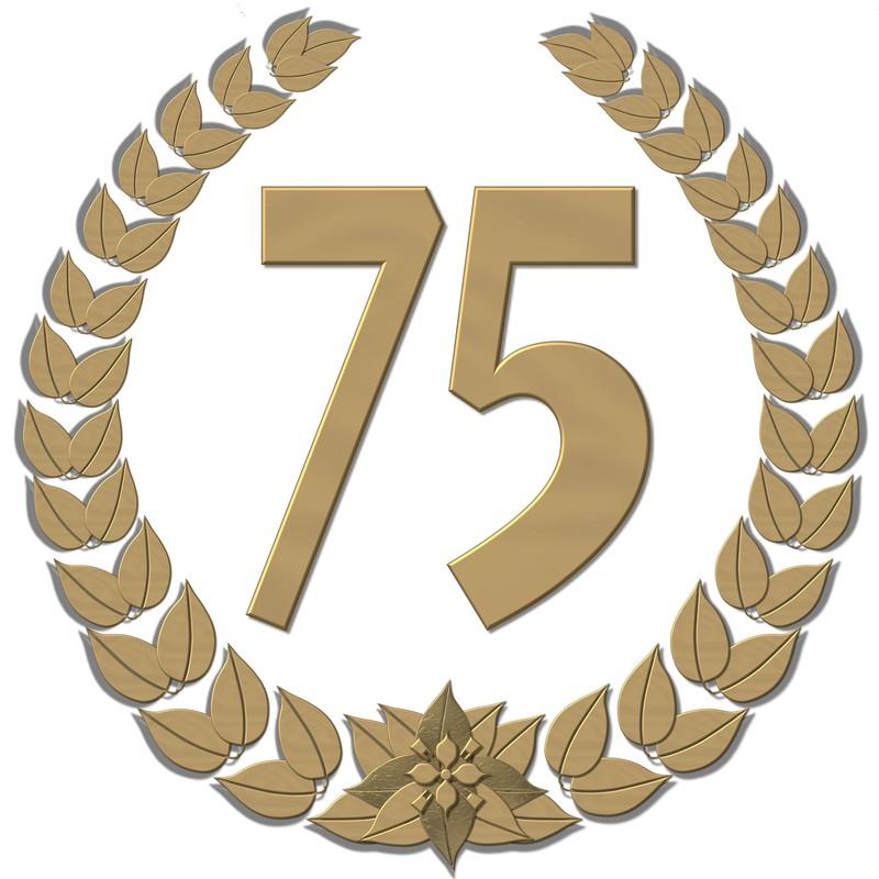 Indbydelse til 75 års jubilæumsfest for klubbens medlemmer og familie.